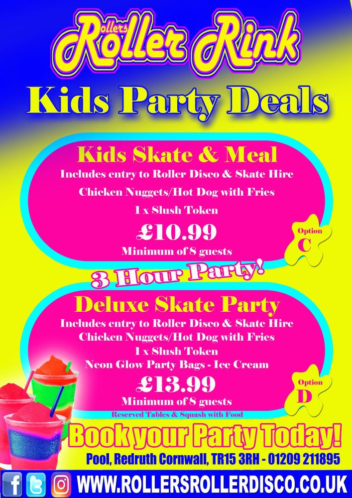 Kids Roller Disco Party Deals Cornwall