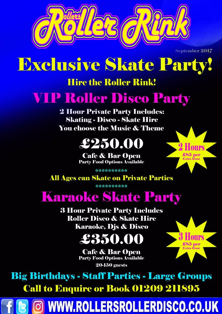 Private Party Group Roller Disco Deals Cornwall