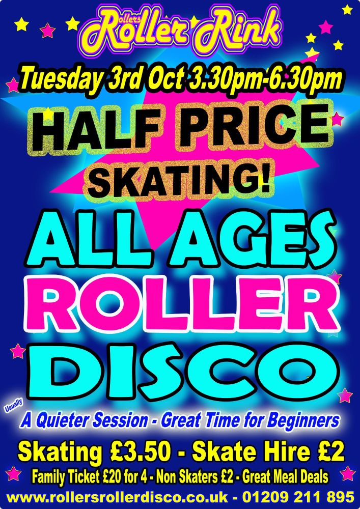 Tuesday Half Price All Ages Roller Disco 3rd October