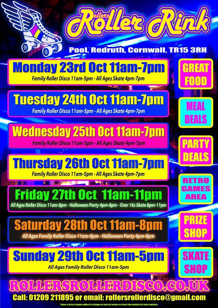 October Half Term Roller Disco Flyer 2017