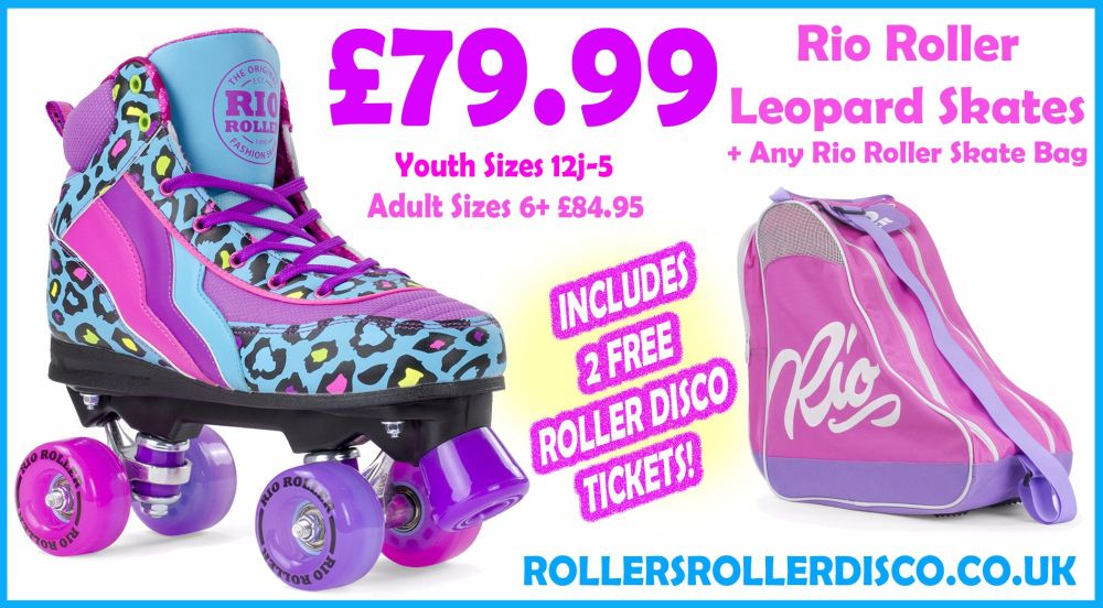 Rio Roller Leopard Skates & Skate Bag