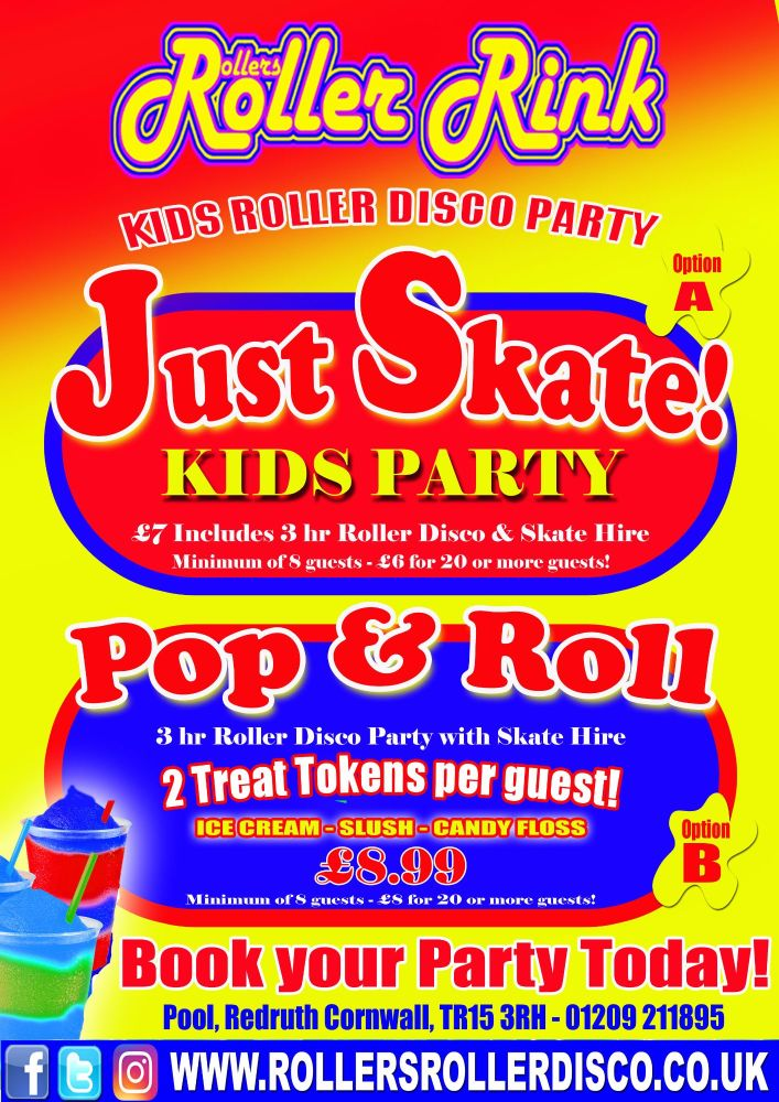 Kids Roller Disco Party options A & B. NEW2