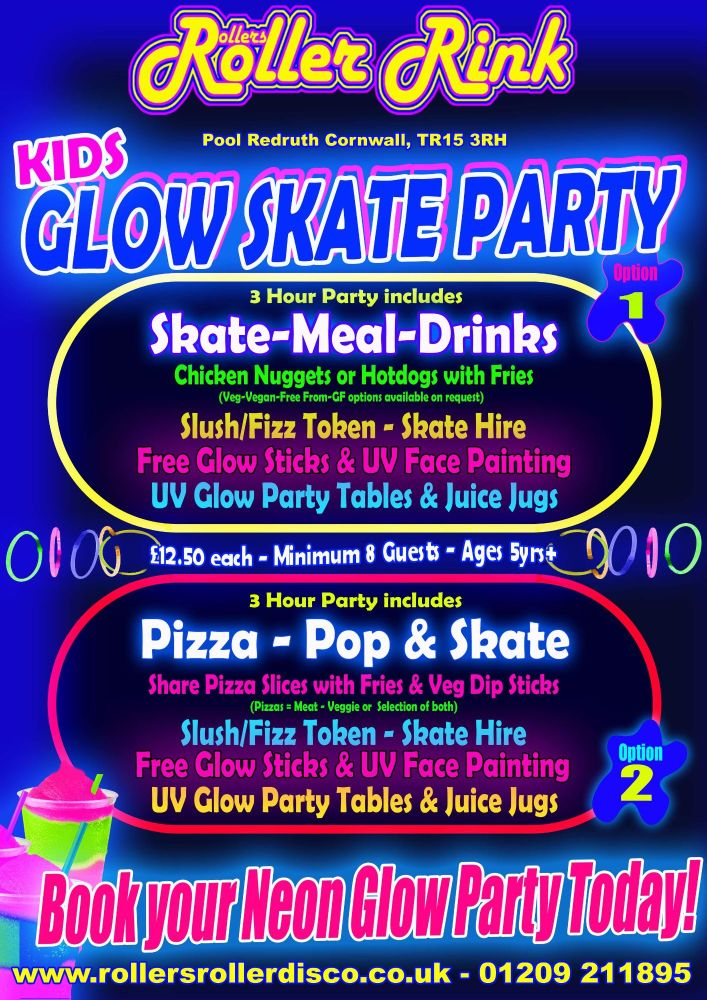 Roller Disco Neon UV Glow Party New 2018 Cornwall tr15 3rh