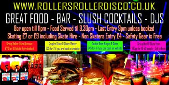 Adults Roller Disco Double Date Burger & Skate Ticket - Friday 7pm-11pm
