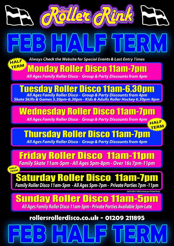 Half Term Roller Disco Cornwall Feb 2018
