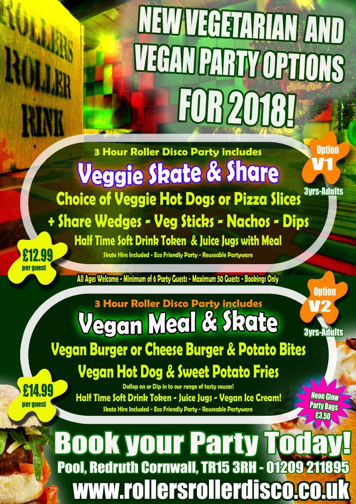 Veggie V Vegan Roller Disco Party Cornwall 2018