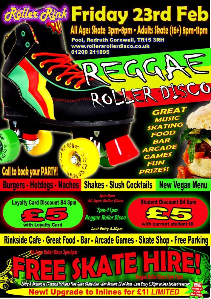 Friday Reggae Roller Disco 23rd Feb 2018 Cornwall