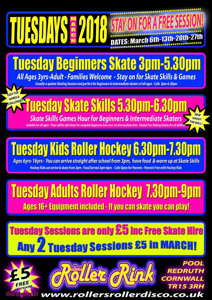 Tuesday Beginners Skate Skills and Roller Hockey Sessions Cornwall March 20