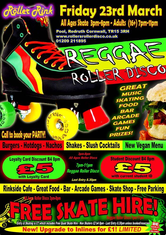 Friday Reggae Roller Disco 23rd March 2018 Cornwall