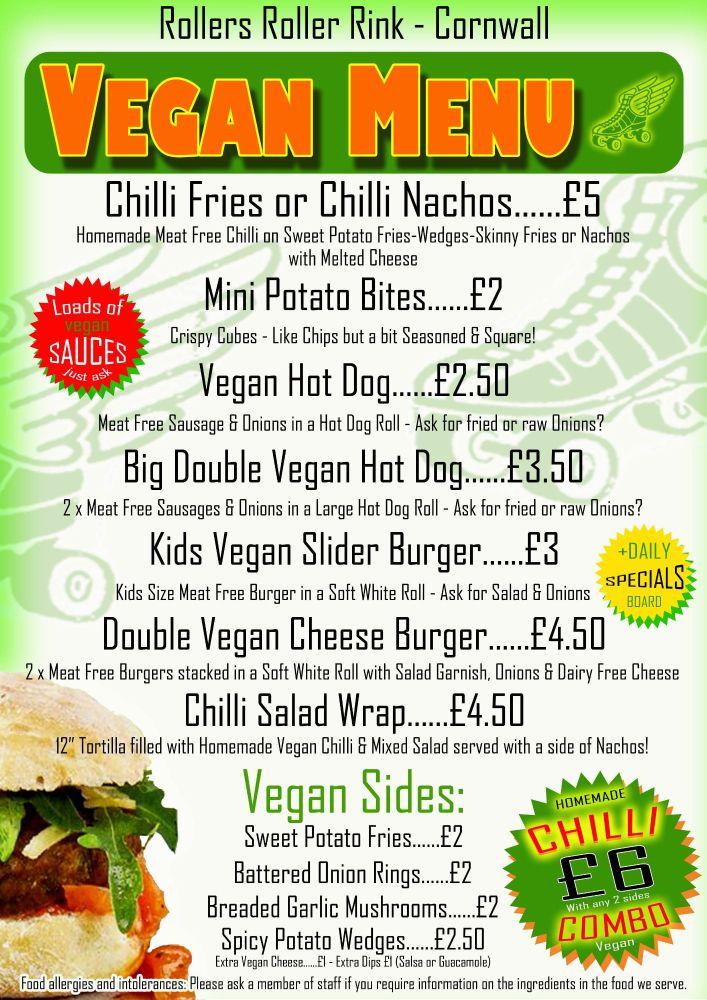 Vegan Burgers and Hot Dogs Menu