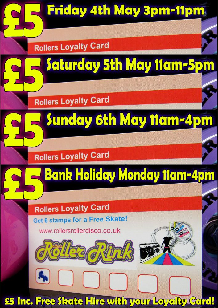 Loyalty Card Five Pound Bank Holiday Weekend Roller Disco May 2018 Cornwall