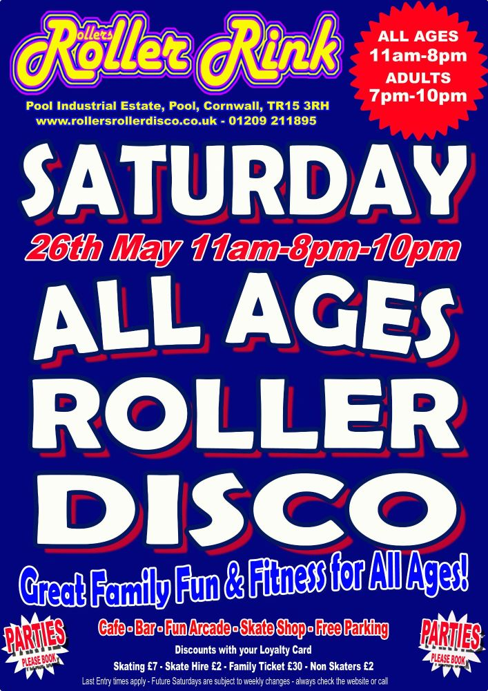 Saturday Roller Disco Cornwall May 26th