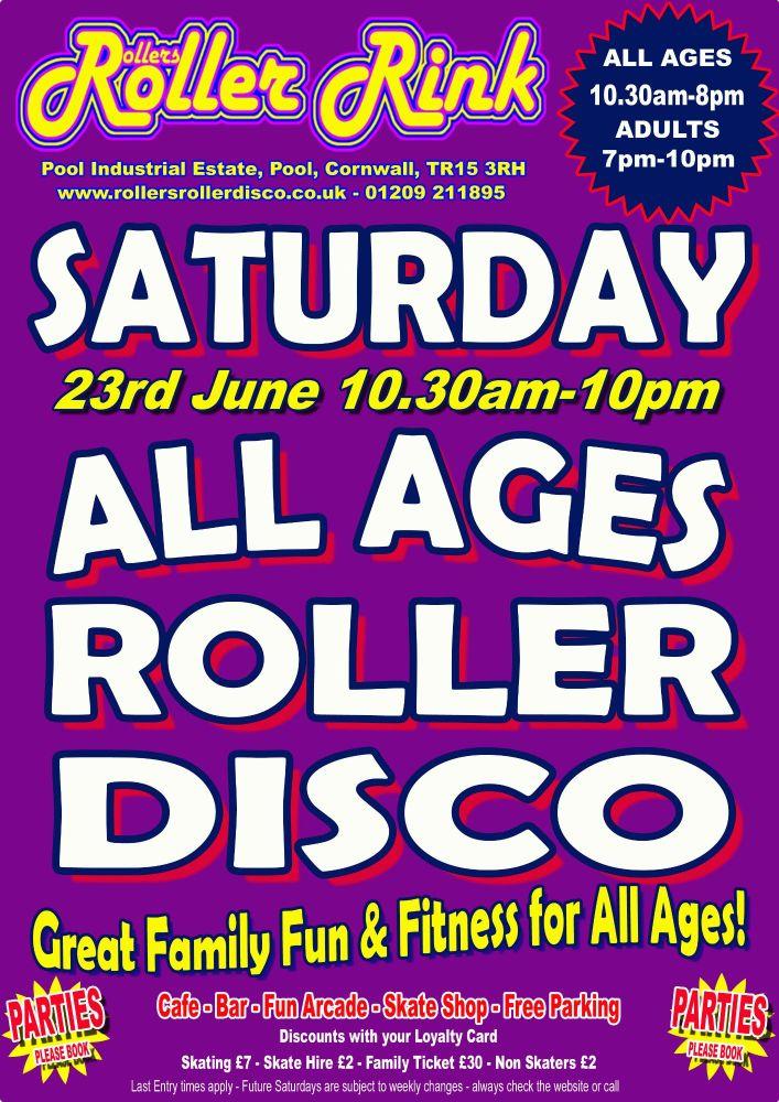 Saturday Roller Disco Cornwall June 23rd 2018
