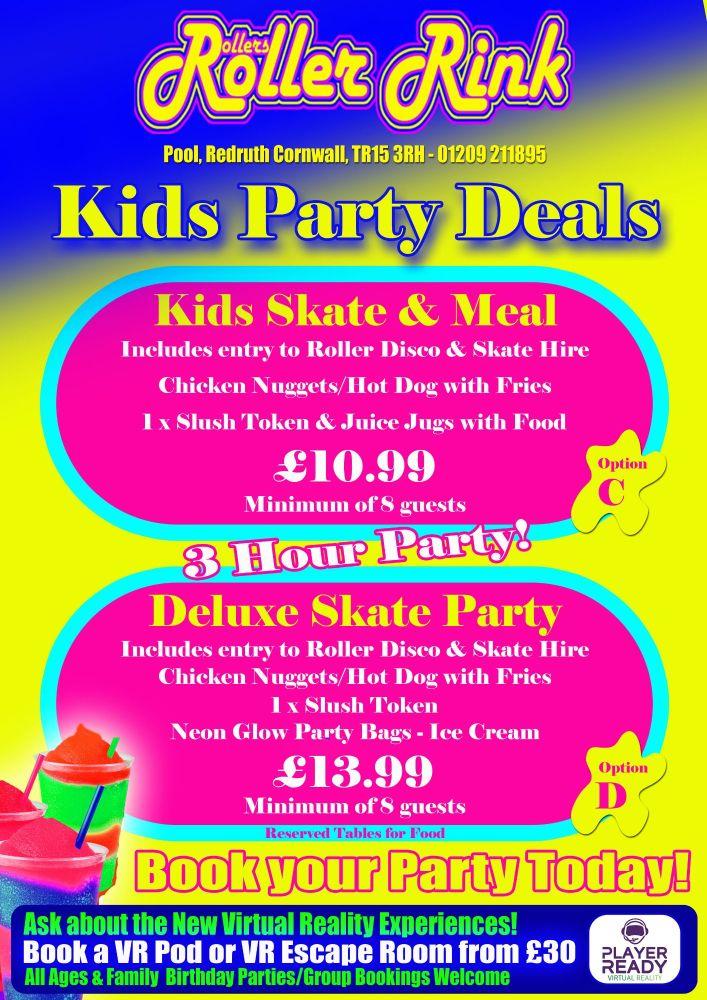 Kids Roller Disco Party Meal Skate 2018