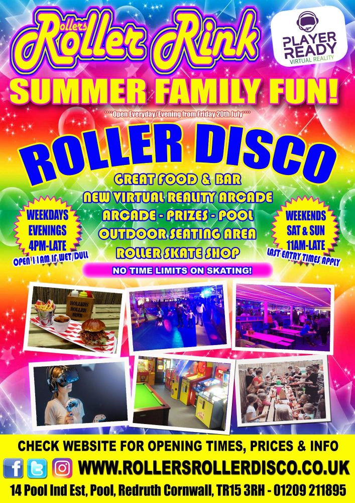 Summer Poster 2018 Roller Disco and Virtual Reality Cornwall