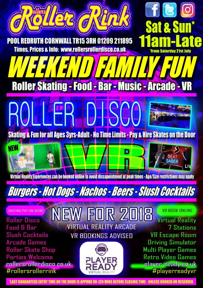 Weekend Roller Skating and VR Cornwall Summer 2018