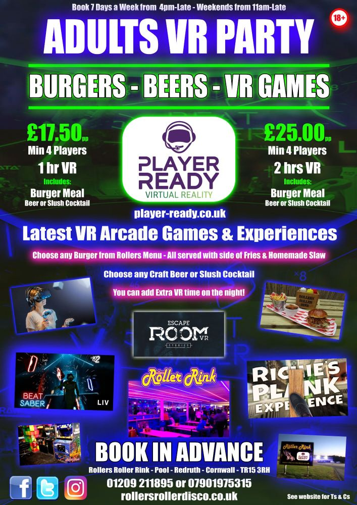 VR Party with Burgers and Beers 2018 Cornwall