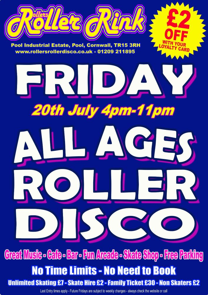 Friday Roller Disco Cornwall 20th July