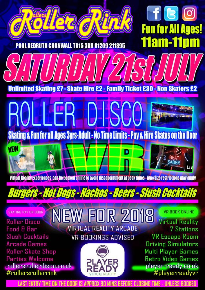 Saturday 21st July 11am-11pm All Ages Family Roller Disco Cornwall