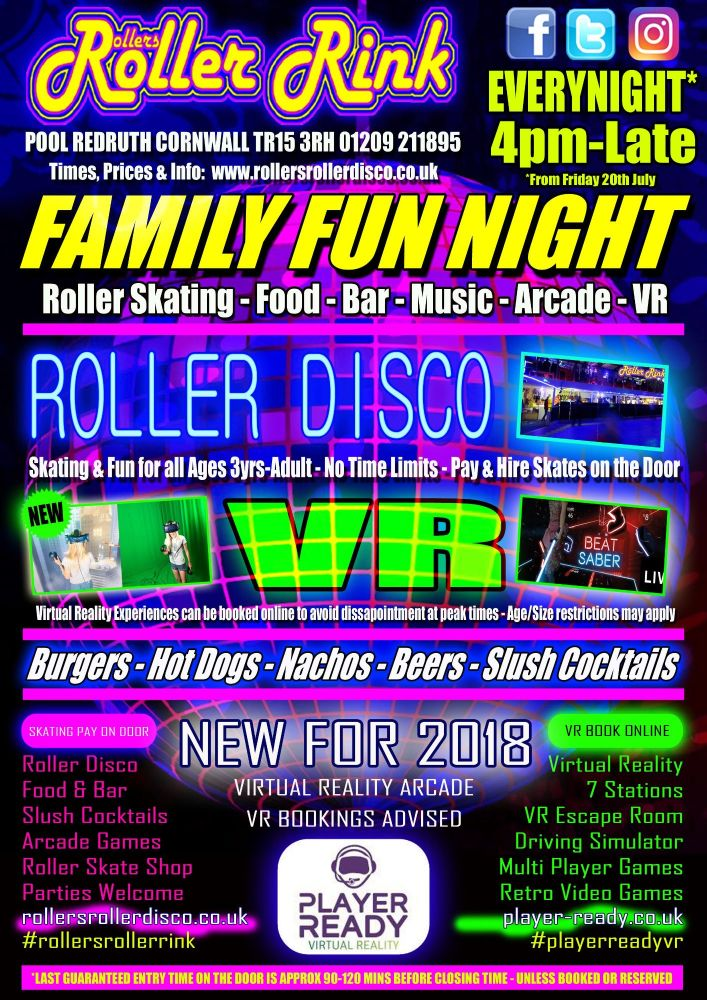 Family Roller Skating and VR everynight in Cornwall 2018