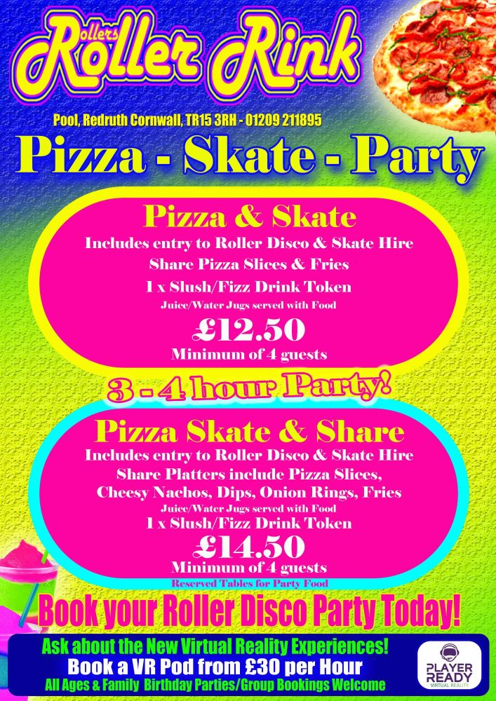 Pizza & Skate Teen Party Deal 2018