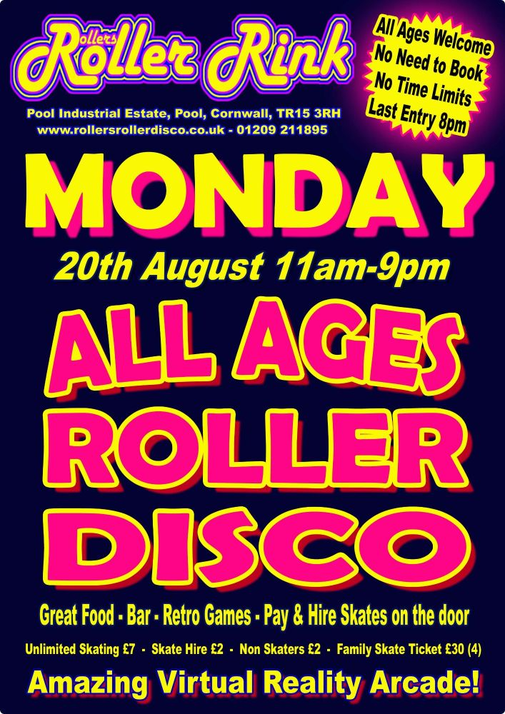 Monday 20th August Roller Disco Cornwall 11am-9pm