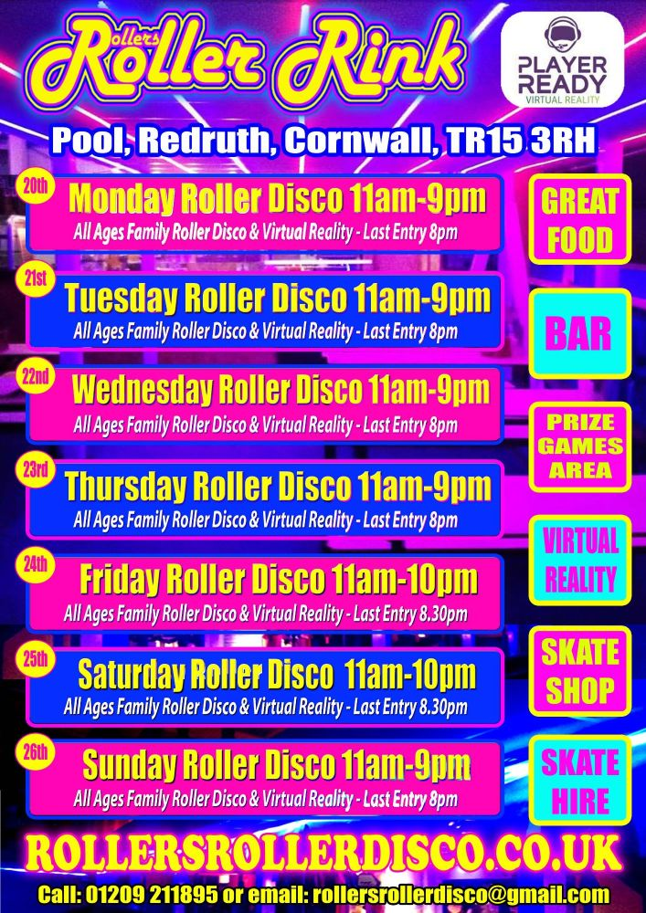 August Roller Disco times wk4