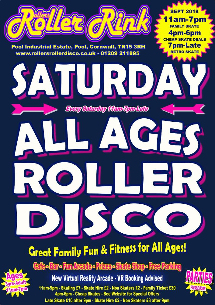 Saturday Roller Discos Sept 2018 Cornwall