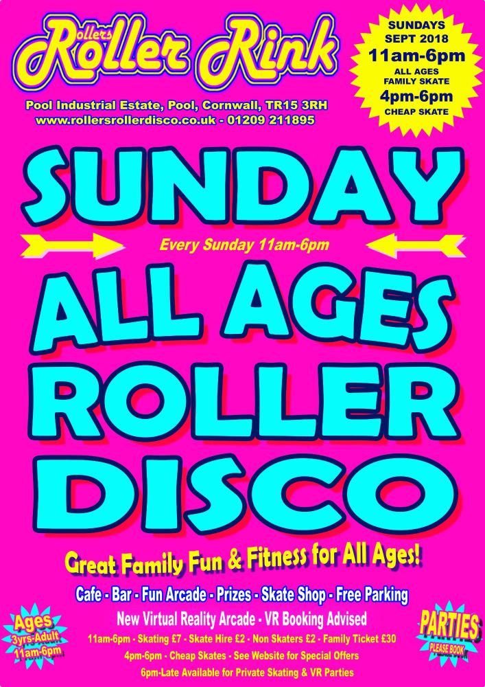 Sunday Roller Discos Sept 2018 Cornwall