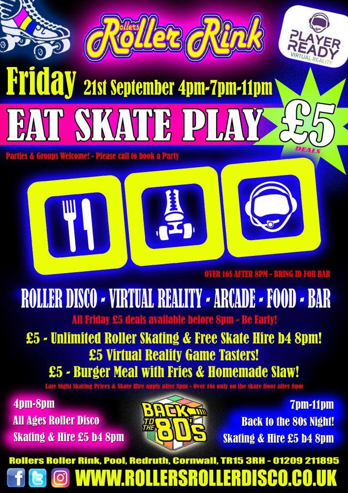 Friday 21st September Eat Skate Play Roller Disco Cornwall 2018
