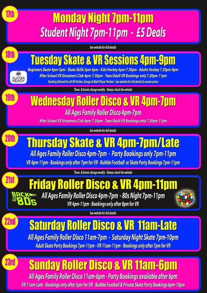 September Roller Disco and VR 17th-23rd