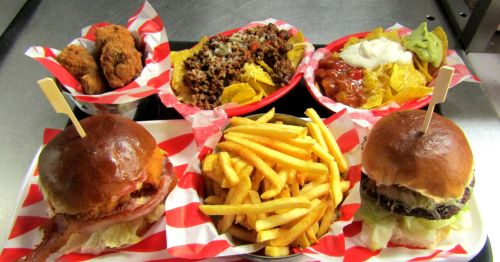 Burgers, Wings Nachos and Fries