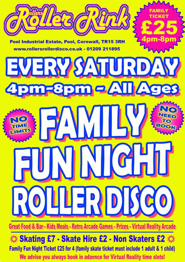 Saturday Family Fun Night Roller Disco October Cornwall 2018