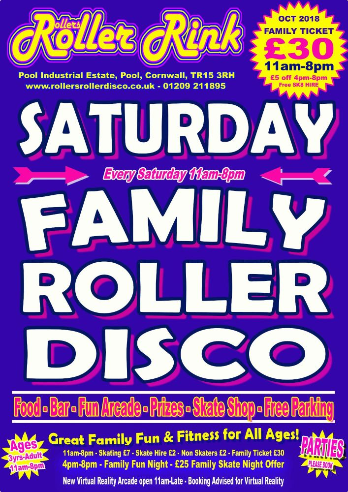 Saturday Roller Discos Oct 2018 Cornwall