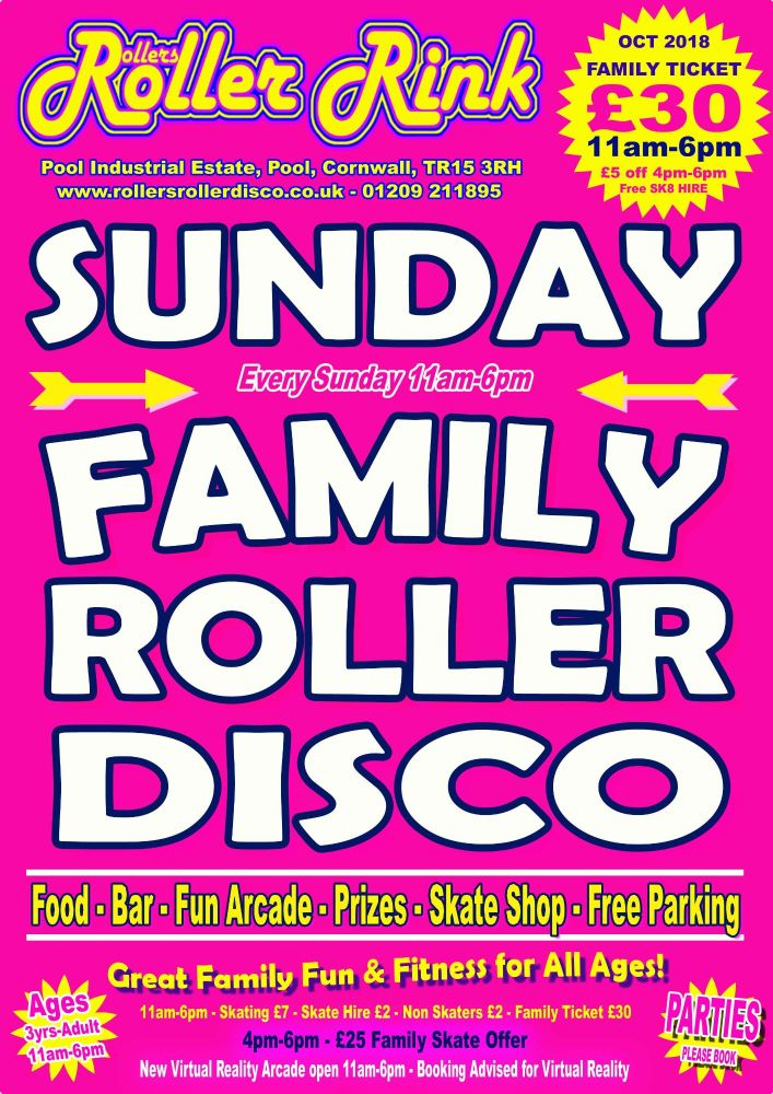 Sunday Roller Discos Oct 2018 Cornwall
