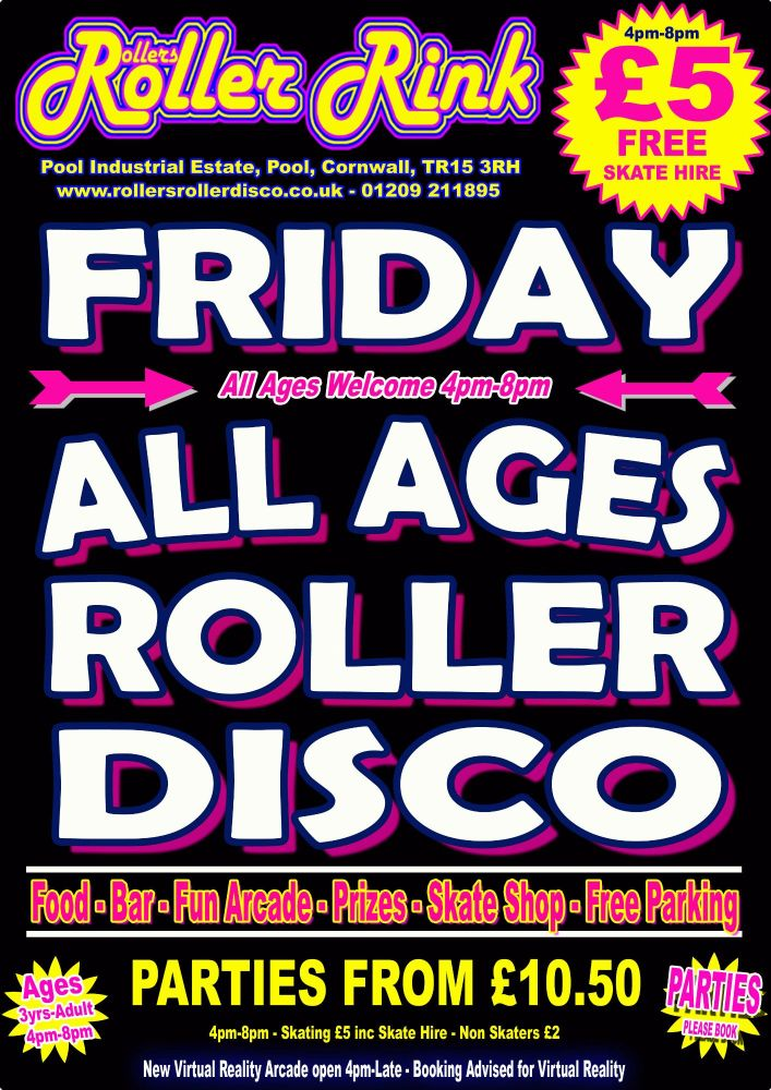 Friday Roller Disco Nov 16th 2018 Cornwall