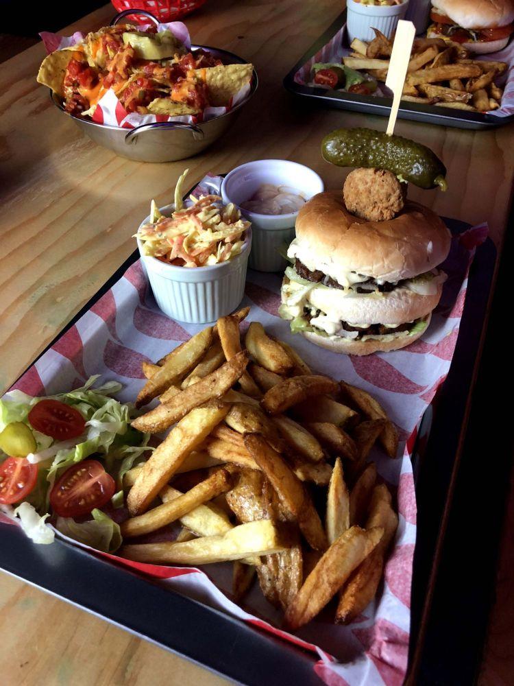 Vegan Burger Fries & Slaw