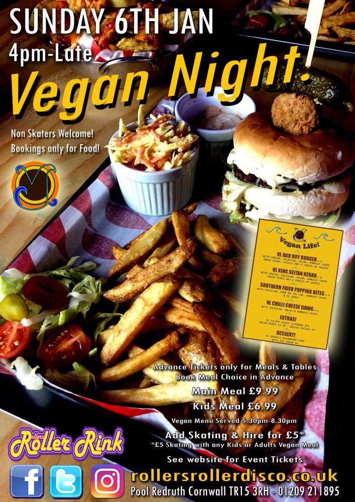 Vegan Night at the Rink Cornwall Sunday 6th Jan 2019