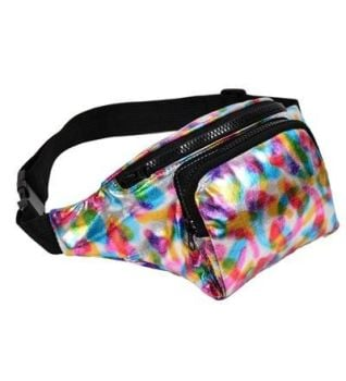 80s High Shine Rainbow Bum Bag