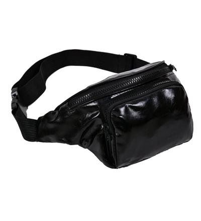 80s High Shine Black Bum Bag