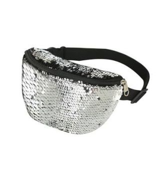 80s Style Silver Sequin Bum Bag