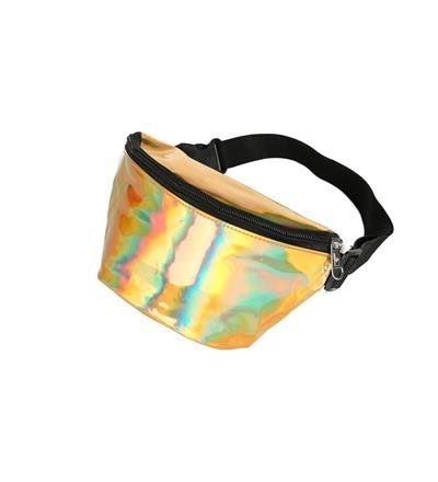 80s Style Holographic Gold Bum Bag
