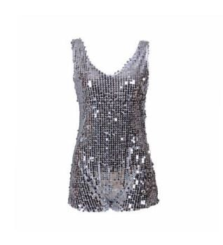 Women's Sequin One Piece Silver Playsuit - Various Sizes 8-12
