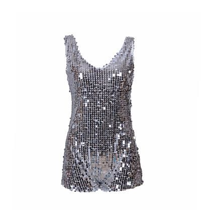 Women's Silver Sequin One Piece Playsuit - Various Sizes 8-12