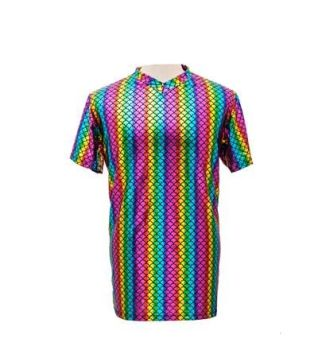 Men's High Shine Rainbow T Shirt - Large