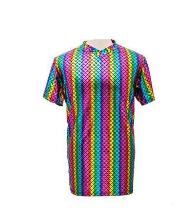 Men's High Shine Rainbow T Shirt - Large