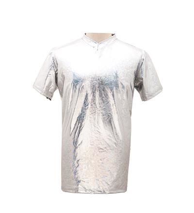 Men's High Shine Silver T Shirt - Large