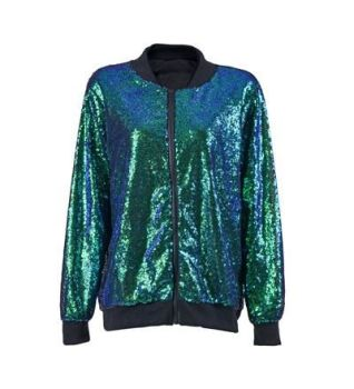 Sequin High Shine Aqua Jacket - Various Sizes