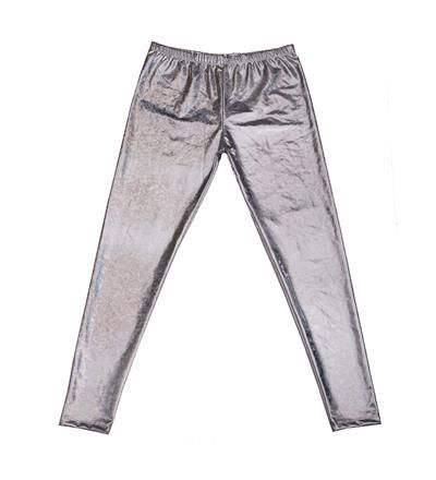 Men's High Shine Laser Effect Silver Leggings - One Size