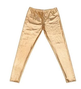 Men's High Shine Laser Effect Gold Leggings - One Size